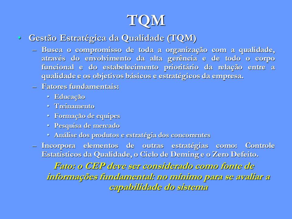 TQM Gestão Estratégica da Qualidade (TQM)Gestão Estratégica da Qualidade (TQM) –Busca o compromisso de toda a organização com a qualidade, através do