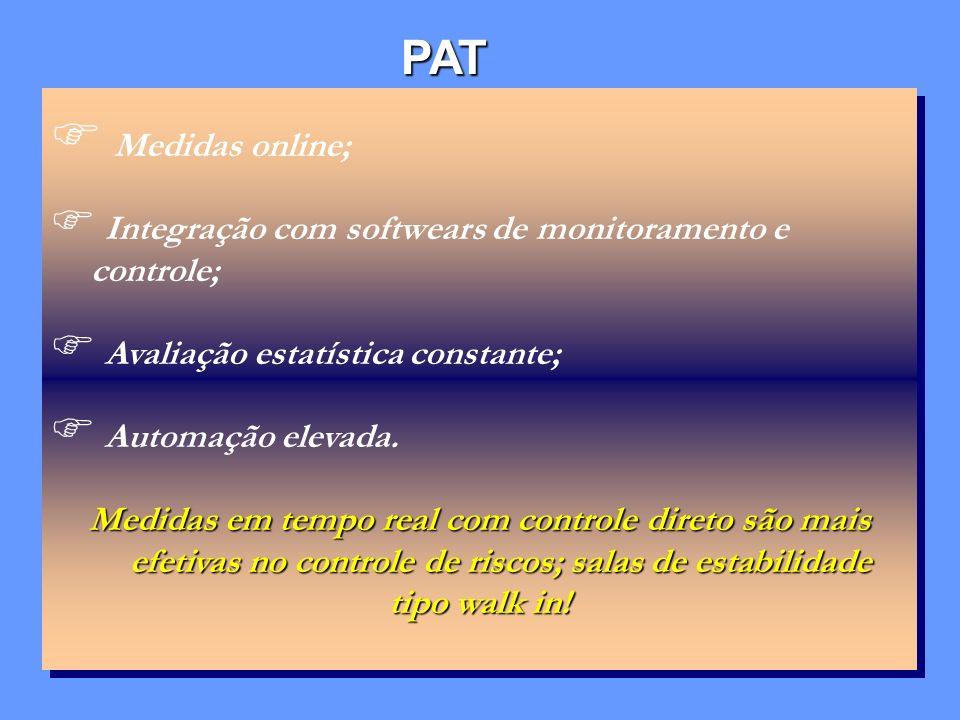 PAT Medidas online; Integração com softwears de monitoramento e controle; Avaliação estatística constante; Automação elevada. Medidas em tempo real co
