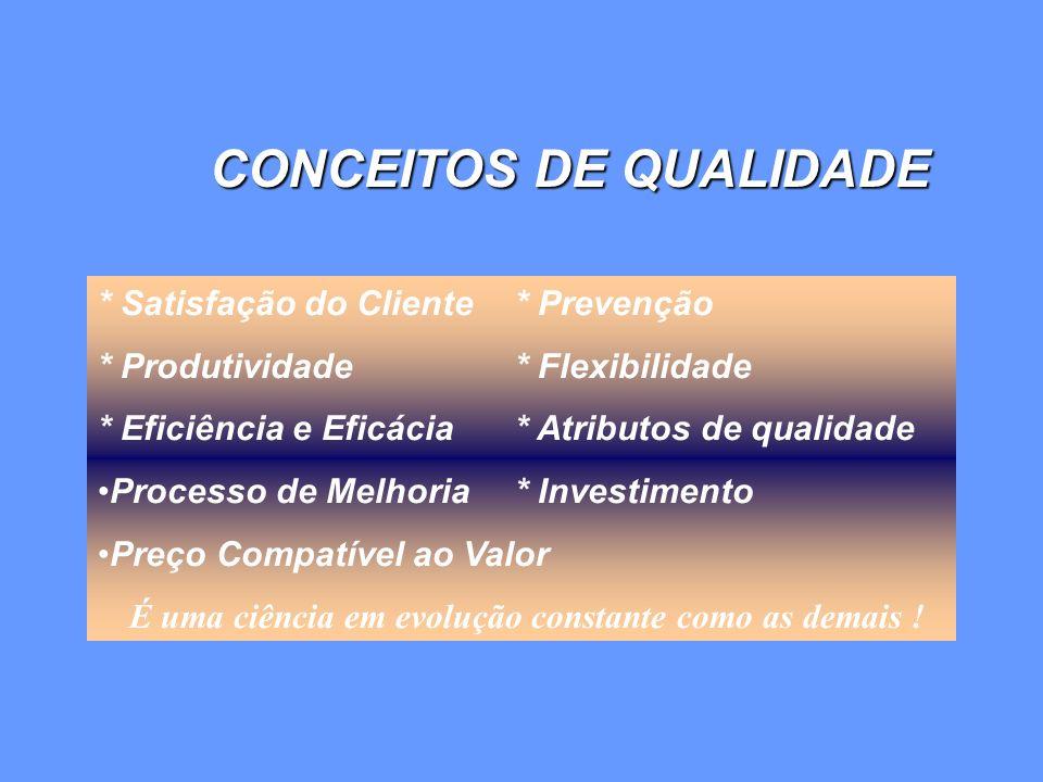 * Satisfação do Cliente * Prevenção * Produtividade * Flexibilidade * Eficiência e Eficácia * Atributos de qualidade Processo de Melhoria * Investimen