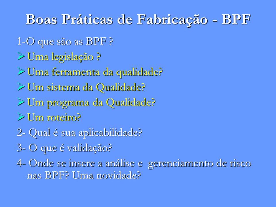 Boas Práticas de Fabricação - BPF 1-O que são as BPF ? Uma legislação ? Uma legislação ? Uma ferramenta da qualidade? Uma ferramenta da qualidade? Um