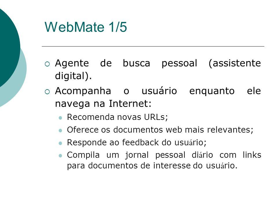 Agentes em Sistemas de Recomendação Recomendam itens de informação ao usuário de acordo com o seu perfil Exemplos WebMate Letizia InfoAgent