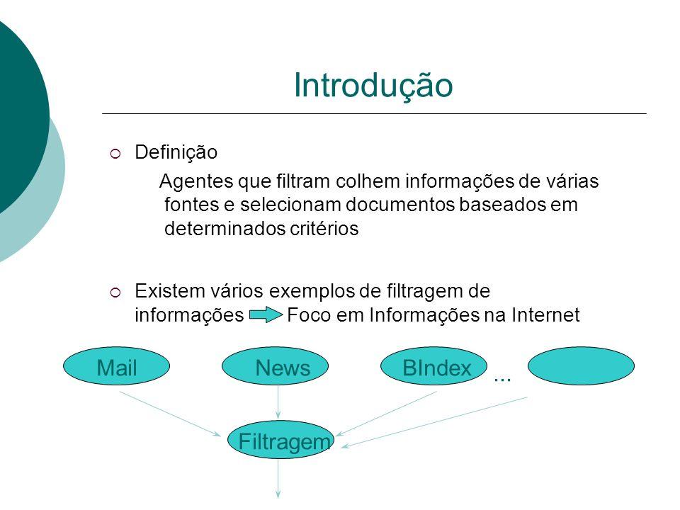 Agentes em Sistemas de Filtragem Motivações Crescimento do volume de informações em ambientes distribuídos Dificuldade em localizar documentos relevan