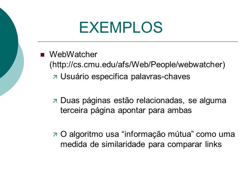 EXEMPLOS BORGES ( A. F. SMEATON, 1996 ) Usuário especifica palavras ou frases Destaca palavras polisemânticas, mostrando significados alternativos, pa