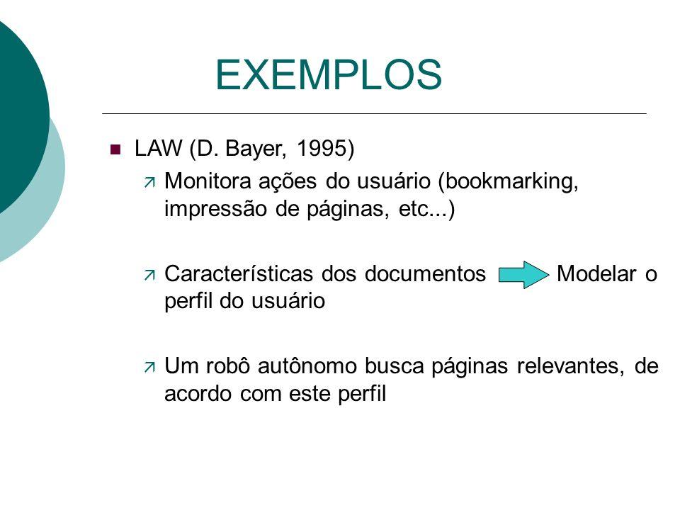 EXEMPLOS n WebWatcher (http://cs.cmu.edu/afs/Web/People/webwatcher) ä Usuário especifica palavras-chaves ä Duas páginas estão relacionadas, se alguma