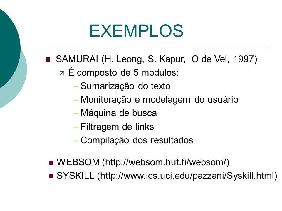 EXEMPLOS n LAW (D. Bayer, 1995) ä Monitora ações do usuário (bookmarking, impressão de páginas, etc...) ä Características dos documentos Modelar o per