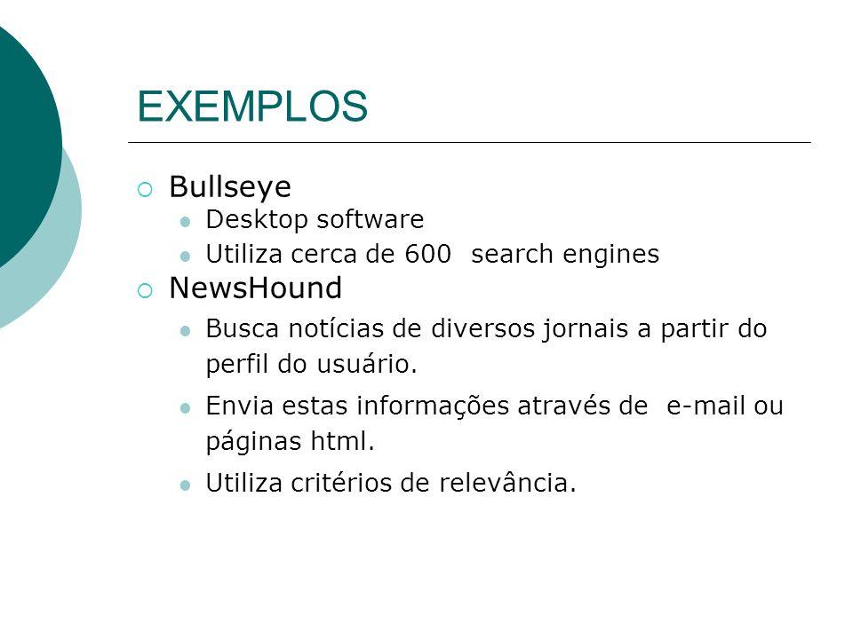 EXEMPLOS n SAMURAI (H. Leong, S. Kapur, O de Vel, 1997) ä É composto de 5 módulos: –Sumarização do texto –Monitoração e modelagem do usuário –Máquina