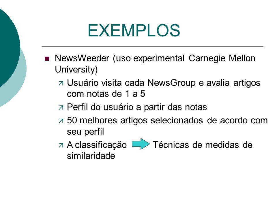 EXEMPLOS Bullseye Desktop software Utiliza cerca de 600 search engines NewsHound Busca notícias de diversos jornais a partir do perfil do usuário. Env