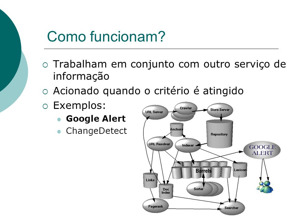 Notificadores WEB Serviço automático ativado por algum evento ocorrido dentro de um critério; Critérios são geralmente definidos por termos; Agentes e