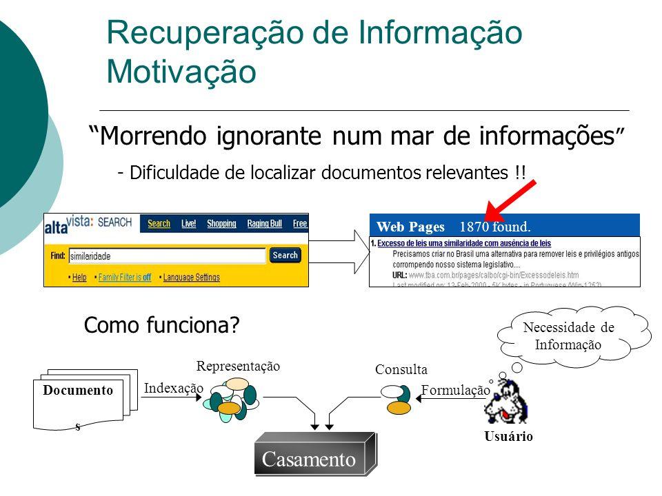 Roteiro Introdução a RI Papel dos Agentes em RI Agentes na WEB Recomendação Filtragem Notificadores E-commerce Chatterbots