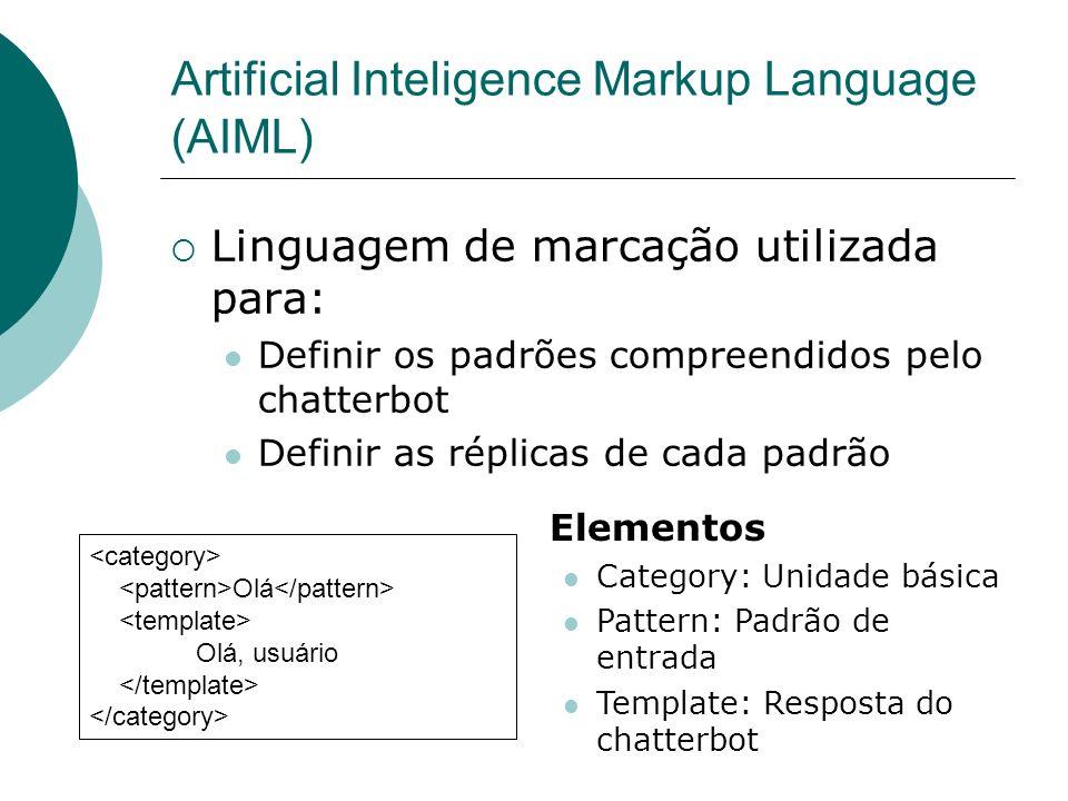 Frases são entendidas através dos padrões A resposta do chatterbot depende do padrão que casou a frase Como chatterbots são implementados