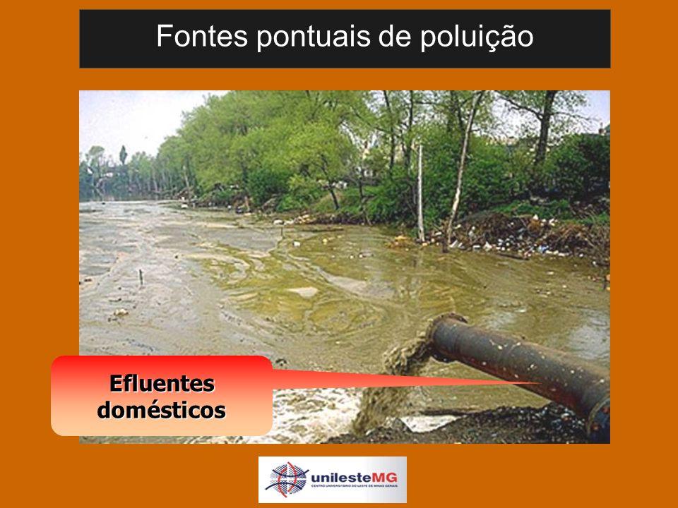 Fontes pontuais de poluição Efluentes domésticos