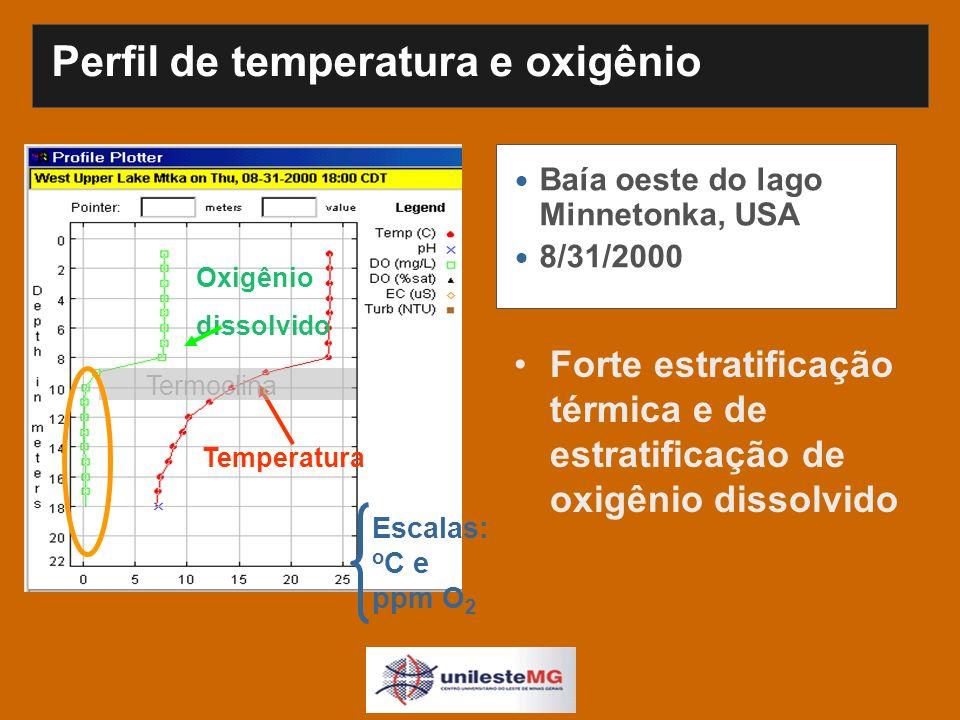 Perfil de temperatura e oxigênio Baía oeste do lago Minnetonka, USA 8/31/2000 Temperatura Termoclina Oxigênio dissolvido Escalas: o C e ppm O 2 Forte estratificação térmica e de estratificação de oxigênio dissolvido