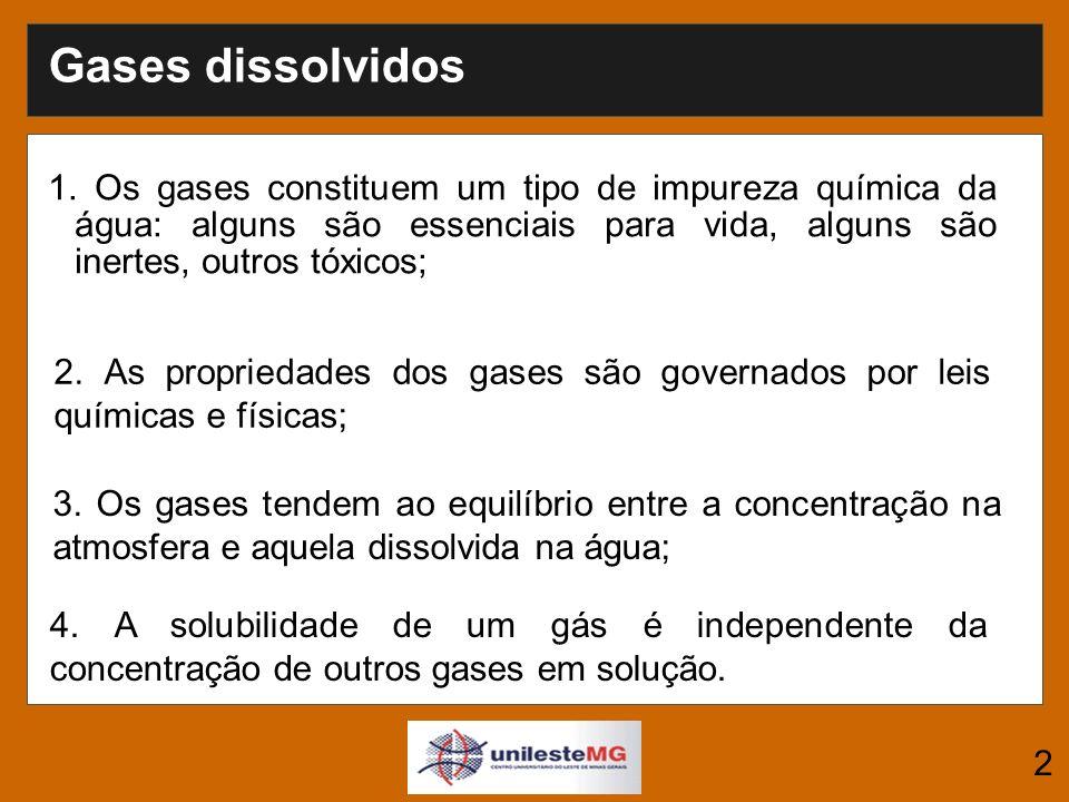 Solubilidade dos gases A quantidade máxima de gás que pode ser dissolvida na água (100% de saturação) é determinada pela temperatura, concentração de íons dissolvidos e a elevação.