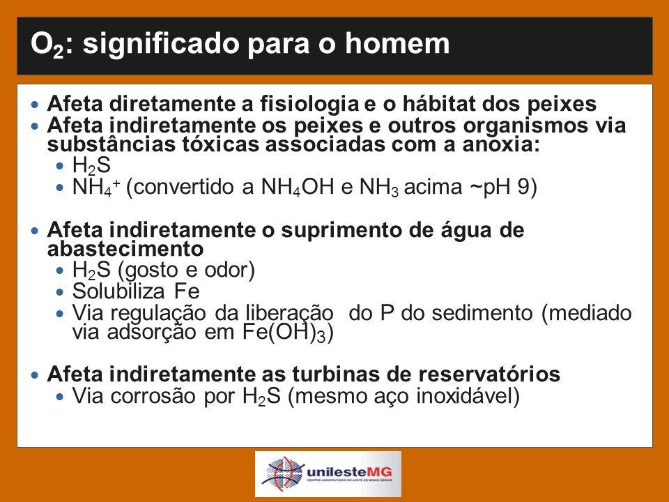 O 2 : significado para o homem Afeta diretamente a fisiologia e o hábitat dos peixes Afeta indiretamente os peixes e outros organismos via substâncias tóxicas associadas com a anoxia: H 2 S NH 4 + (convertido a NH 4 OH e NH 3 acima ~pH 9) Afeta indiretamente o suprimento de água de abastecimento H 2 S (gosto e odor) Solubiliza Fe Via regulação da liberação do P do sedimento (mediado via adsorção em Fe(OH) 3 ) Afeta indiretamente as turbinas de reservatórios Via corrosão por H 2 S (mesmo aço inoxidável)