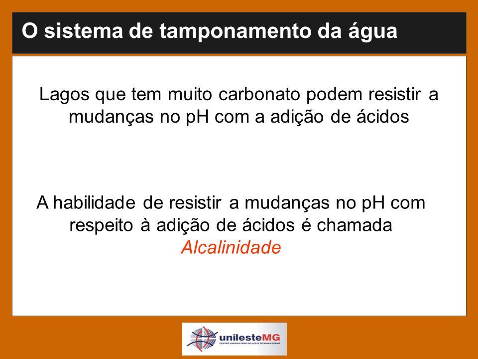A habilidade de resistir a mudanças no pH com respeito à adição de ácidos é chamada Alcalinidade Lagos que tem muito carbonato podem resistir a mudanças no pH com a adição de ácidos O sistema de tamponamento da água
