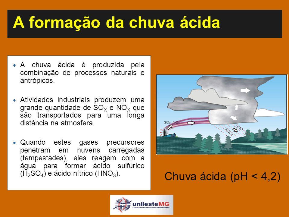 A formação da chuva ácida A chuva ácida é produzida pela combinação de processos naturais e antrópicos.