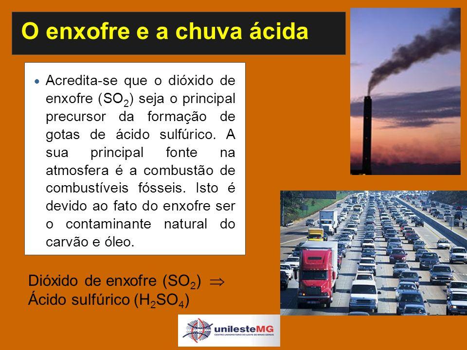 O enxofre e a chuva ácida Acredita-se que o dióxido de enxofre (SO 2 ) seja o principal precursor da formação de gotas de ácido sulfúrico.