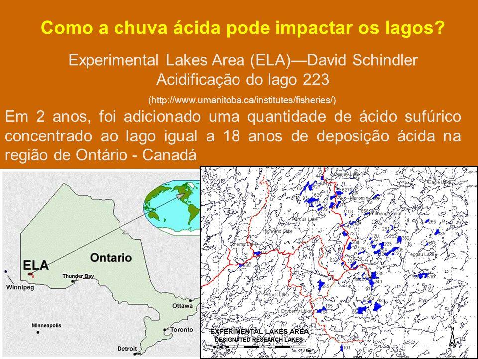 Experimental Lakes Area (ELA)David Schindler Acidificação do lago 223 Como a chuva ácida pode impactar os lagos.