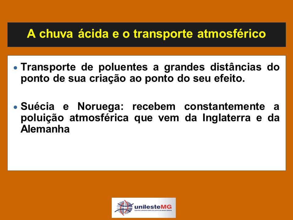 A chuva ácida e o transporte atmosférico Transporte de poluentes a grandes distâncias do ponto de sua criação ao ponto do seu efeito.