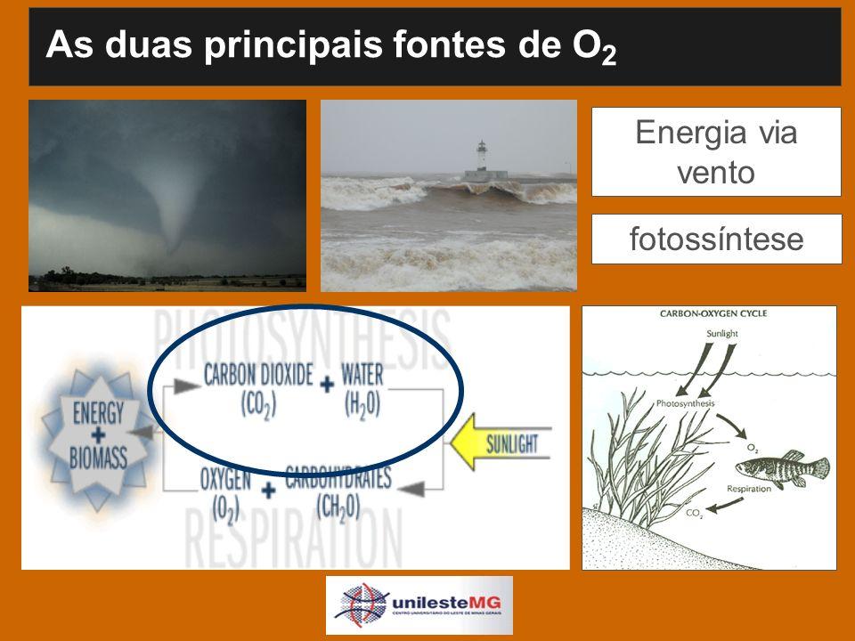 Energia via vento fotossíntese As duas principais fontes de O 2