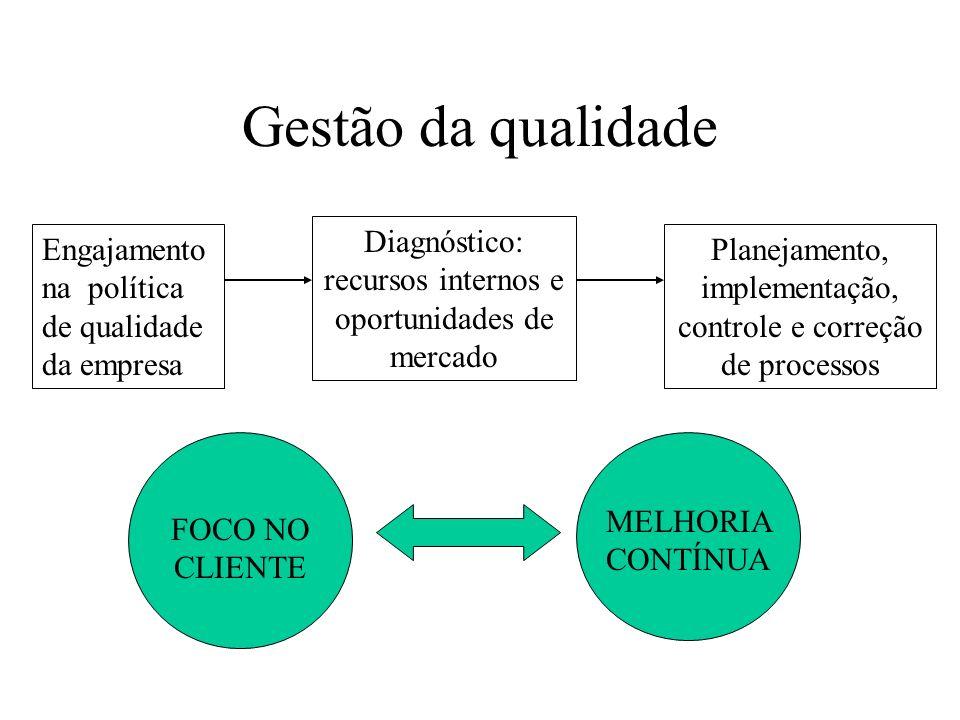 Gestão da qualidade Engajamento na política de qualidade da empresa Diagnóstico: recursos internos e oportunidades de mercado Planejamento, implementa