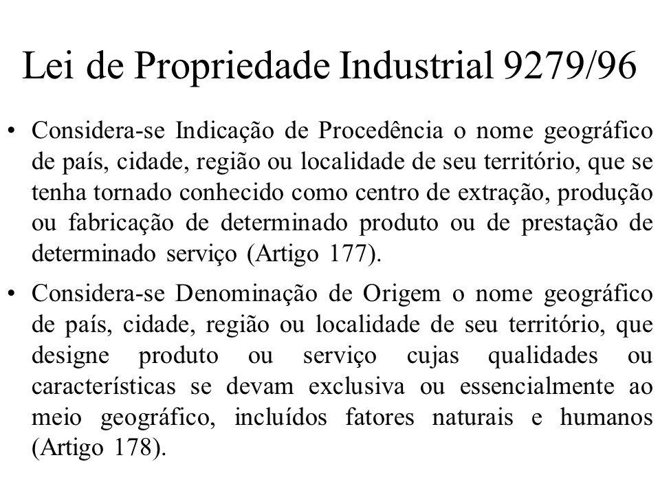 Lei de Propriedade Industrial 9279/96 Considera-se Indicação de Procedência o nome geográfico de país, cidade, região ou localidade de seu território,