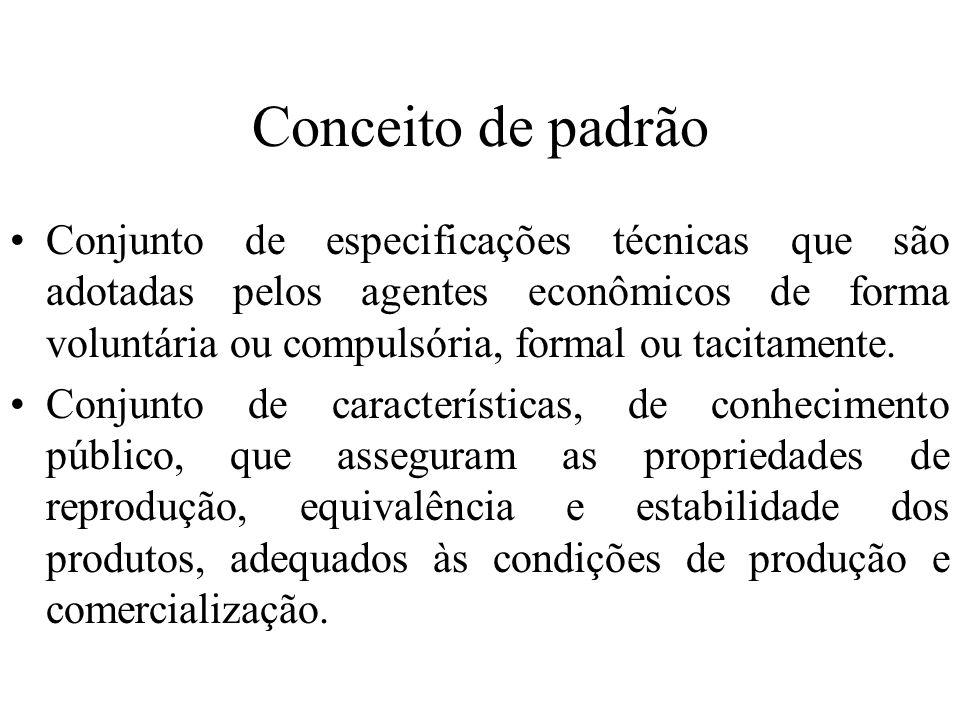 Conceito de padrão Conjunto de especificações técnicas que são adotadas pelos agentes econômicos de forma voluntária ou compulsória, formal ou tacitam