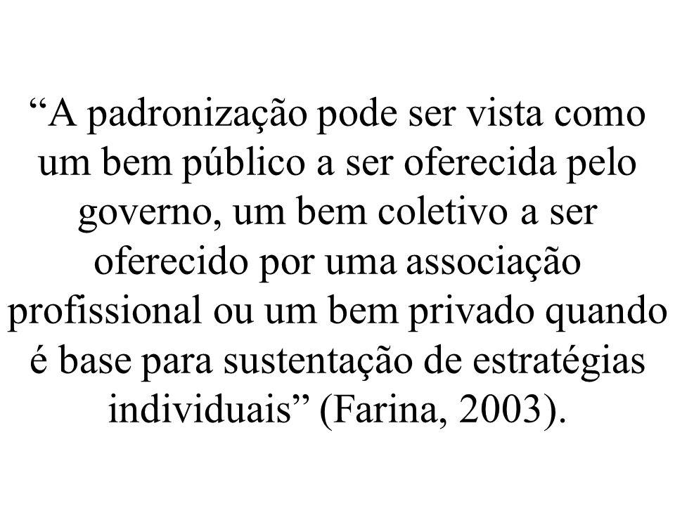 A padronização pode ser vista como um bem público a ser oferecida pelo governo, um bem coletivo a ser oferecido por uma associação profissional ou um