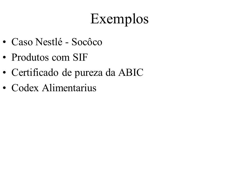 Exemplos Caso Nestlé - Socôco Produtos com SIF Certificado de pureza da ABIC Codex Alimentarius