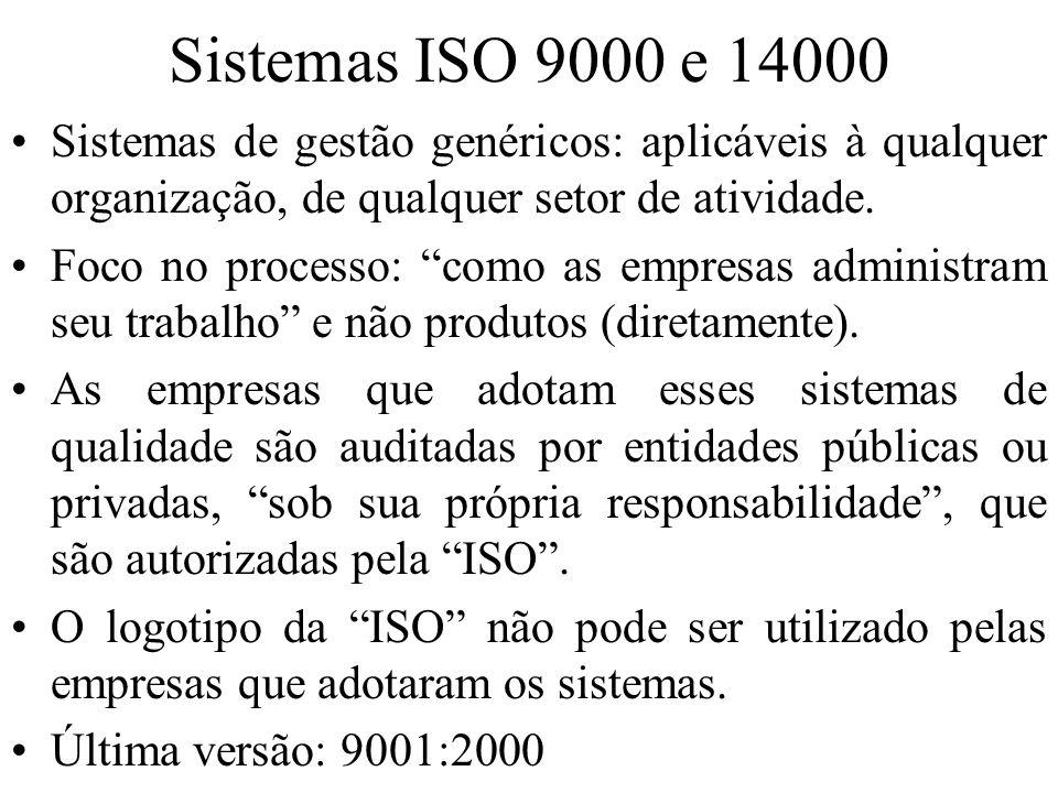 Sistemas ISO 9000 e 14000 Sistemas de gestão genéricos: aplicáveis à qualquer organização, de qualquer setor de atividade. Foco no processo: como as e