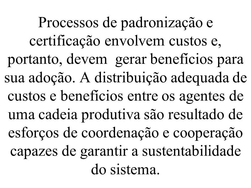 Processos de padronização e certificação envolvem custos e, portanto, devem gerar benefícios para sua adoção. A distribuição adequada de custos e bene