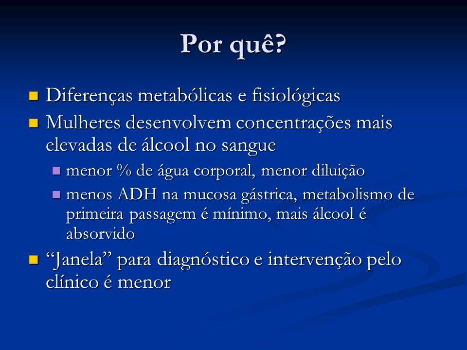 Por quê? Diferenças metabólicas e fisiológicas Diferenças metabólicas e fisiológicas Mulheres desenvolvem concentrações mais elevadas de álcool no san