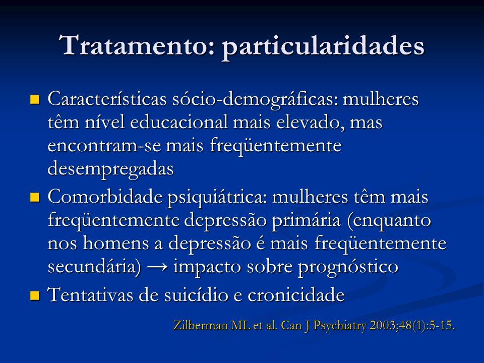 Tratamento: particularidades Características sócio-demográficas: mulheres têm nível educacional mais elevado, mas encontram-se mais freqüentemente des