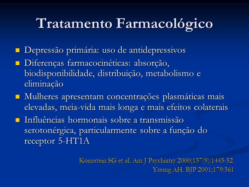 Tratamento Farmacológico Depressão primária: uso de antidepressivos Depressão primária: uso de antidepressivos Diferenças farmacocinéticas: absorção,