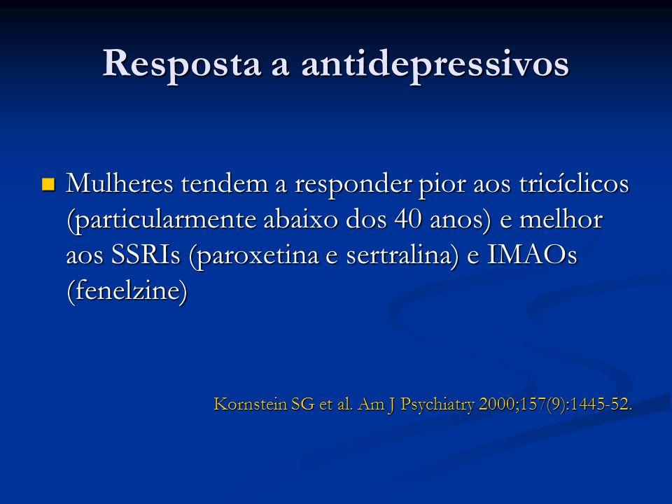 Resposta a antidepressivos Mulheres tendem a responder pior aos tricíclicos (particularmente abaixo dos 40 anos) e melhor aos SSRIs (paroxetina e sert