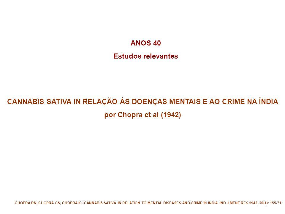 CANNABIS SATIVA IN RELAÇÃO ÀS DOENÇAS MENTAIS E AO CRIME NA ÍNDIA por Chopra et al (1942) CHOPRA RN, CHOPRA GS, CHOPRA IC.