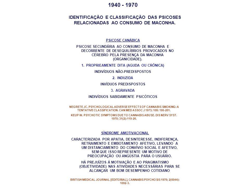 1940 - 1970 PSICOSE CANÁBICA PSICOSE SECUNDÁRIA AO CONSUMO DE MACONHA E DECORRENTE DE DESEQUILÍBRIOS PROVOCADOS NO CÉREBRO PELA PRESENÇA DA MACONHA (O