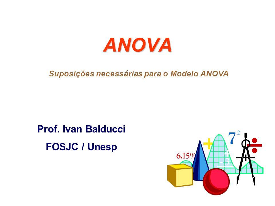 ANOVA Prof. Ivan Balducci FOSJC / Unesp Suposições necessárias para o Modelo ANOVA