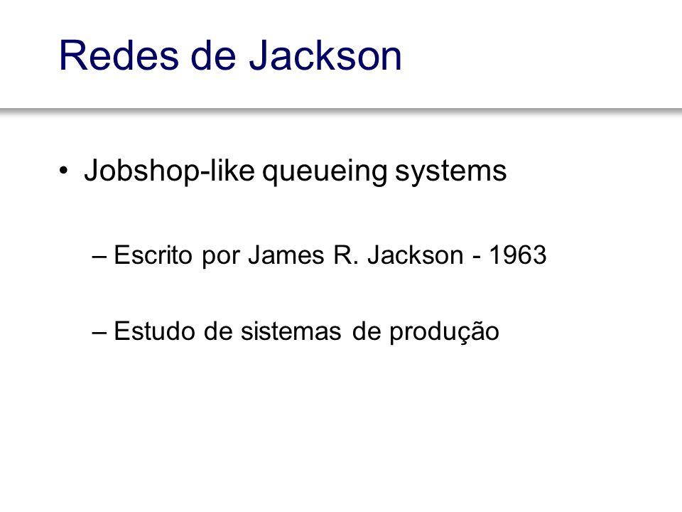 Redes de Jackson Jobshop-like queueing systems –Escrito por James R. Jackson - 1963 –Estudo de sistemas de produção