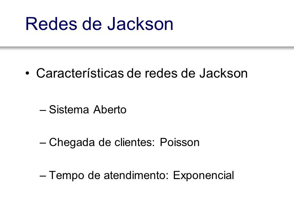 Redes de Jackson Características de redes de Jackson –Sistema Aberto –Chegada de clientes: Poisson –Tempo de atendimento: Exponencial