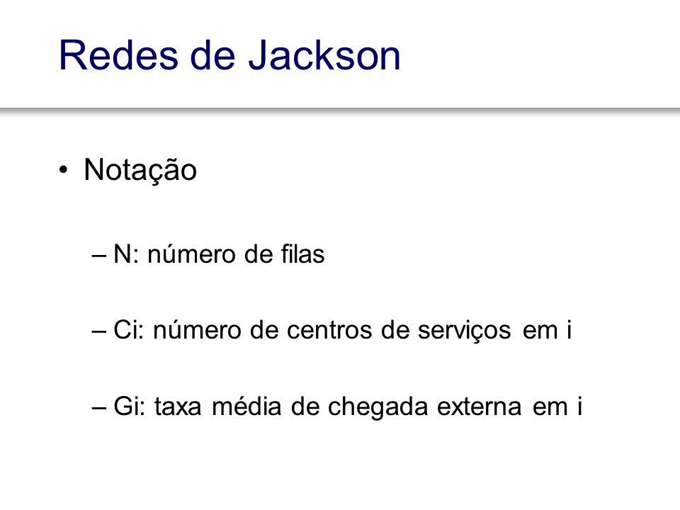 Redes de Jackson Notação –N: número de filas –Ci: número de centros de serviços em i –Gi: taxa média de chegada externa em i