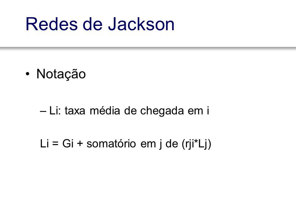 Redes de Jackson Notação –Li: taxa média de chegada em i Li = Gi + somatório em j de (rji*Lj)