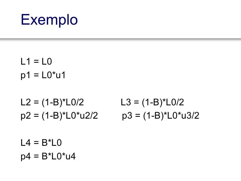 L1 = L0 p1 = L0*u1 L2 = (1-B)*L0/2 L3 = (1-B)*L0/2 p2 = (1-B)*L0*u2/2 p3 = (1-B)*L0*u3/2 L4 = B*L0 p4 = B*L0*u4