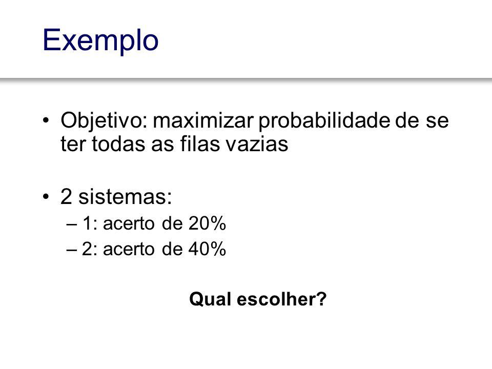 Exemplo Objetivo: maximizar probabilidade de se ter todas as filas vazias 2 sistemas: –1: acerto de 20% –2: acerto de 40% Qual escolher?