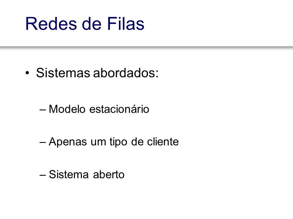 Redes de Filas Sistemas abordados: –Modelo estacionário –Apenas um tipo de cliente –Sistema aberto