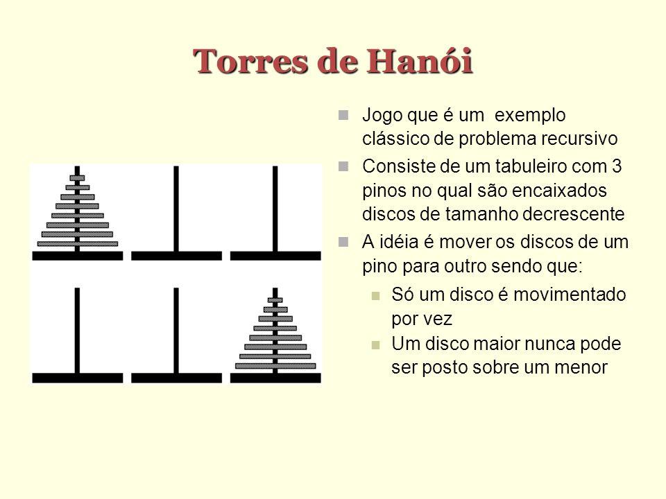 Torres de Hanói Jogo que é um exemplo clássico de problema recursivo Consiste de um tabuleiro com 3 pinos no qual são encaixados discos de tamanho dec