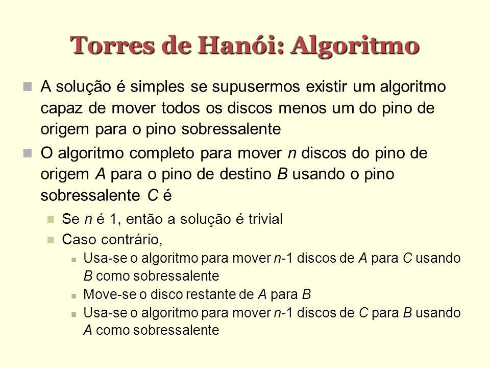Torres de Hanói: Algoritmo A solução é simples se supusermos existir um algoritmo capaz de mover todos os discos menos um do pino de origem para o pin