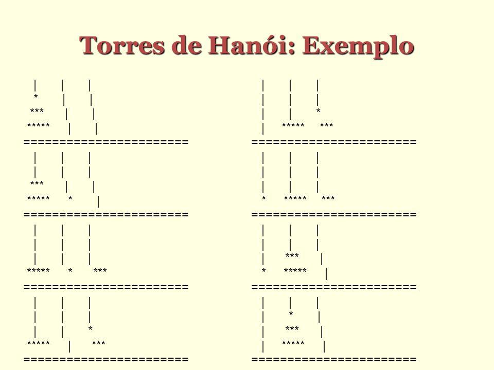Torres de Hanói: Exemplo | | | * | | *** | | ***** | | ======================= | | | *** | | ***** * | ======================= | | | ***** * *** =====
