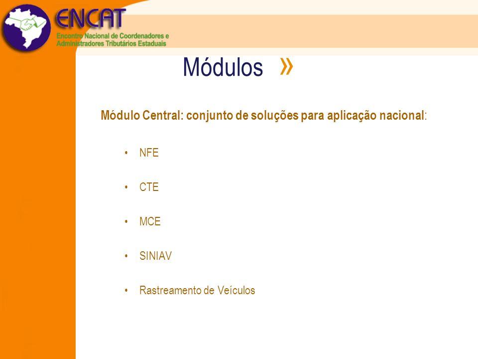 Módulos » Módulo Central: conjunto de soluções para aplicação nacional : NFE CTE MCE SINIAV Rastreamento de Veículos