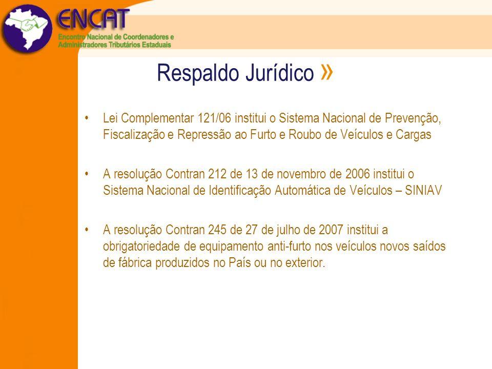 Respaldo Jurídico » Lei Complementar 121/06 institui o Sistema Nacional de Prevenção, Fiscalização e Repressão ao Furto e Roubo de Veículos e Cargas A